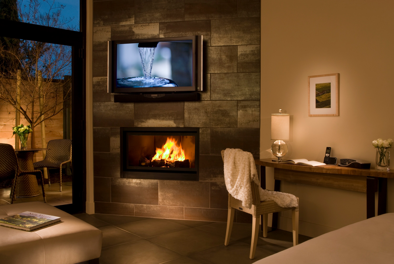 Bardessono Guestroom Fireplace