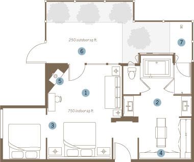 King & Queen Steam Spa Suite floorplan