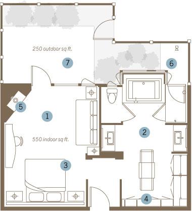 King Steam Spa Suite floorplan